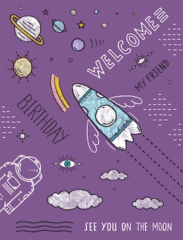 Planètes spatiales étoiles cosmonaute vaisseau spatial vol ligne art poster ou invitation design