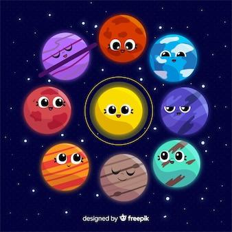 Planètes de voie lactée de conception plate avec des visages