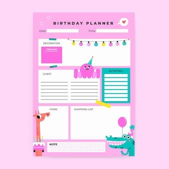 Planificateur d'anniversaire coloré créatif