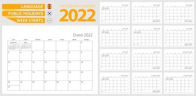 Planificateur de calendrier espagnol pour 2022. langue espagnole, la semaine commence à partir de lundi.