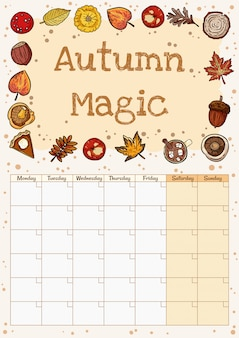 Planificateur de calendrier mois automne magique mignon hygge confortable avec un décor automne. éléments d'automne ornement stationnaire