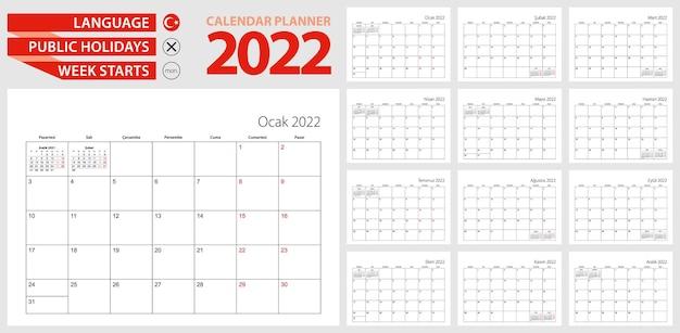 Planificateur de calendrier turc pour 2022. langue turque, la semaine commence à partir de lundi.