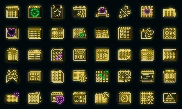 Planificateur d'événements icons set vector néon
