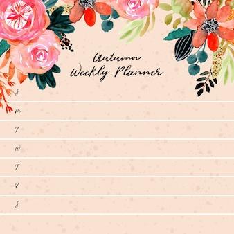 Planificateur hebdomadaire avec aquarelle florale automne