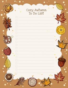 Planificateur hebdomadaire d'automne confortable et à faire la liste avec l'ornement des éléments à la mode automne