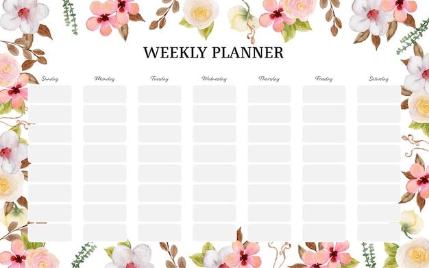 Planificateur hebdomadaire coloré mignon avec de magnifiques fleurs pastel