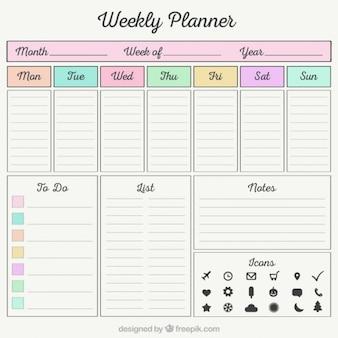 Planificateur hebdomadaire avec des éléments de l'organiseur