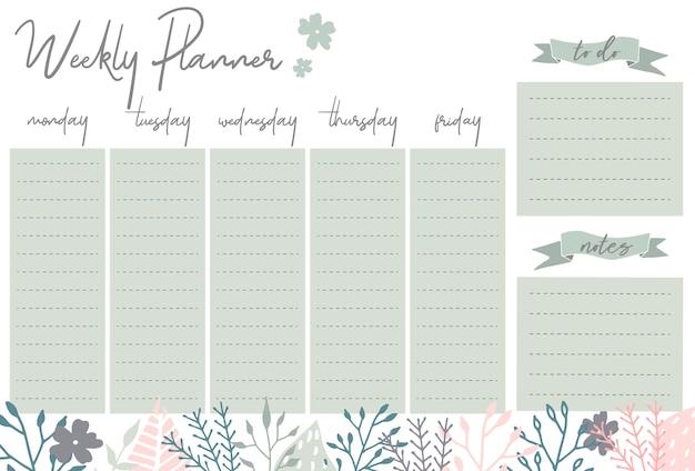 Planificateur hebdomadaire avec des fleurs, organisateur de papeterie pour les plans quotidiens, modèle de planificateur hebdomadaire de vecteur floral, les horaires