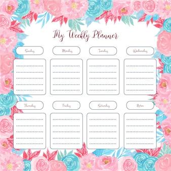 Planificateur hebdomadaire floral avec une fleur aquarelle colorée