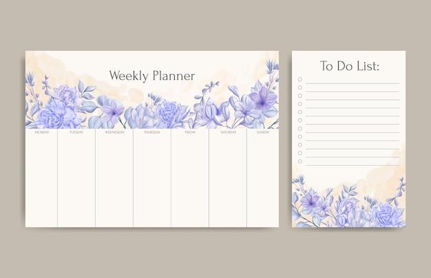 Planificateur hebdomadaire floral et modèle de liste de tâches