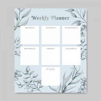 Planificateur hebdomadaire floral avec thème dessiné à la main