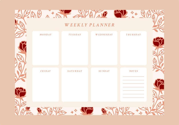 Planificateur hebdomadaire floral et to do list emplate