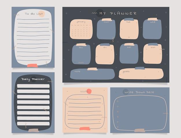 Planificateur hebdomadaire avec graphique de thème gris