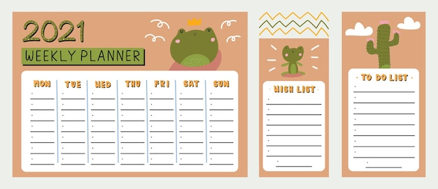 Planificateur hebdomadaire, liste des souhaits et liste des tâches avec jolie grenouille et illustration des éléments tirés à la main