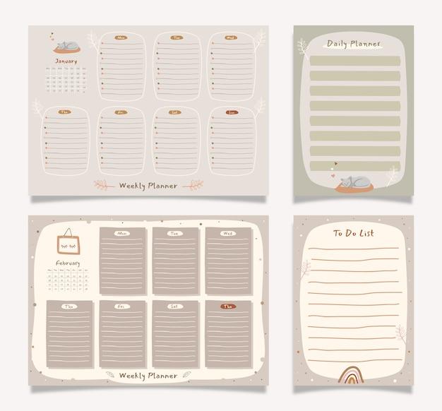 Planificateur hebdomadaire mignon avec un bon organisateur et un bon calendrier