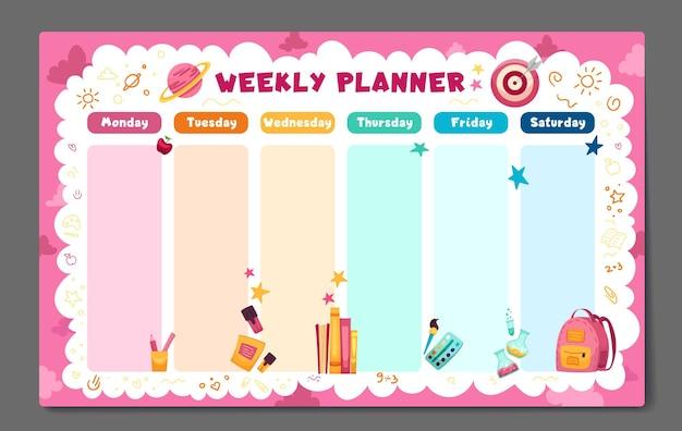 Planificateur hebdomadaire de retour au modèle de calendrier scolaire avec des fournitures scolaires, des livres de planètes et des griffonnages