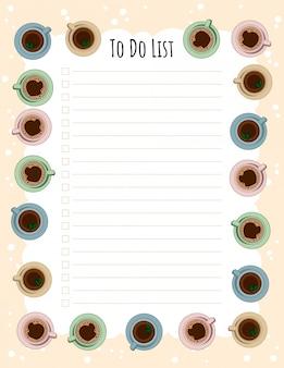 Planificateur hebdomadaire de tasses à thé et à café et liste de tâches.