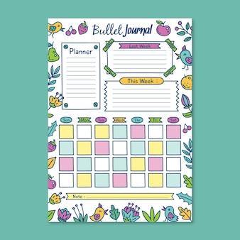 Planificateur de journal de balle colorée