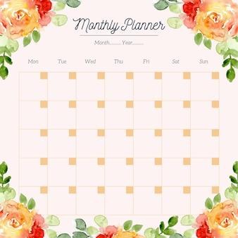 Planificateur mensuel avec cadre aquarelle floral rouge orange