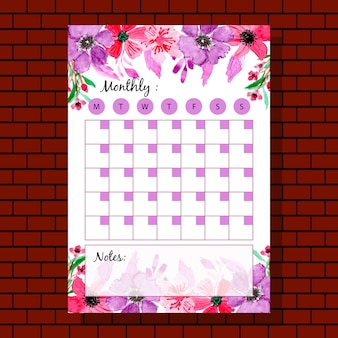 Planificateur mensuel fleur violet aquarelle rouge