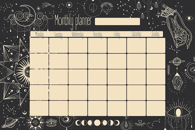Planificateur mensuel et hebdomadaire. les étoiles, les constellations, le soleil et la lune. vintage rétro.
