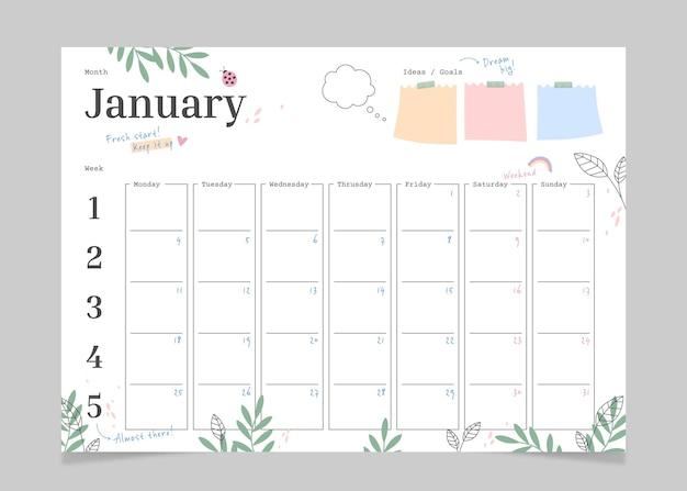 Planificateur mensuel de journal de balle