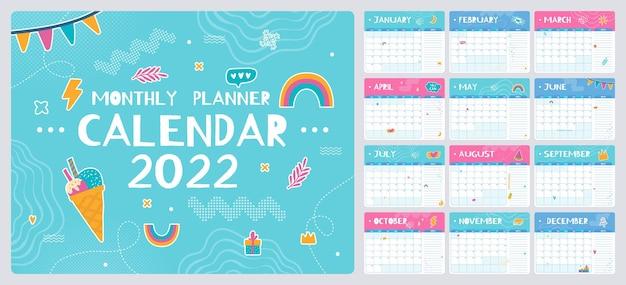 Planificateur mensuel mignon avec modèle de calendrier doodles 2022