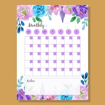 Planificateur mensuel pourpre fleur d'aquarelle