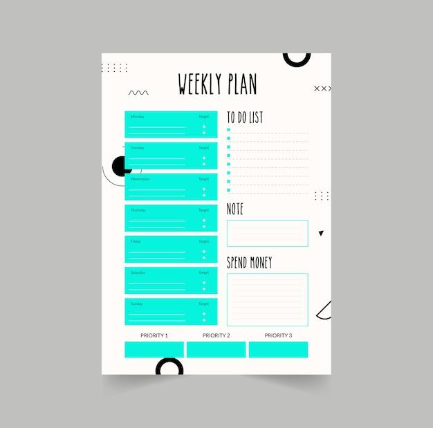 Planificateur minimaliste isolé sur gris