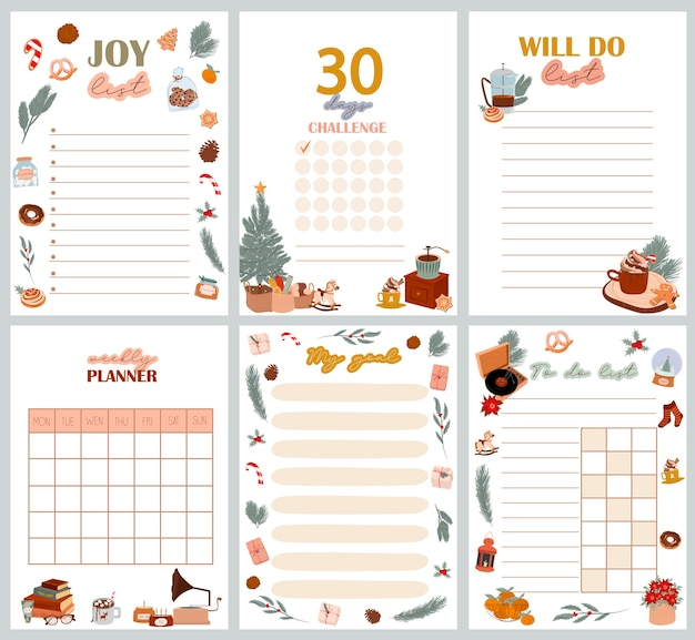 Planificateur de noël organisateur et calendrier avec le défi des jours de liste de joie liste de choses à faire liste de mes objectifs à faire avec de jolies illustrations scandinaves d'hiver illustration modifiable