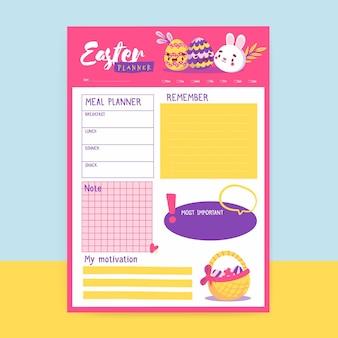 Planificateur de pâques mignon et enfantin