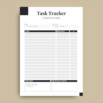 Planificateur professionnel simple de suivi des tâches