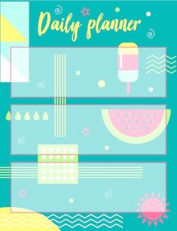Planificateur quotidien avec fond abstrait de l'été