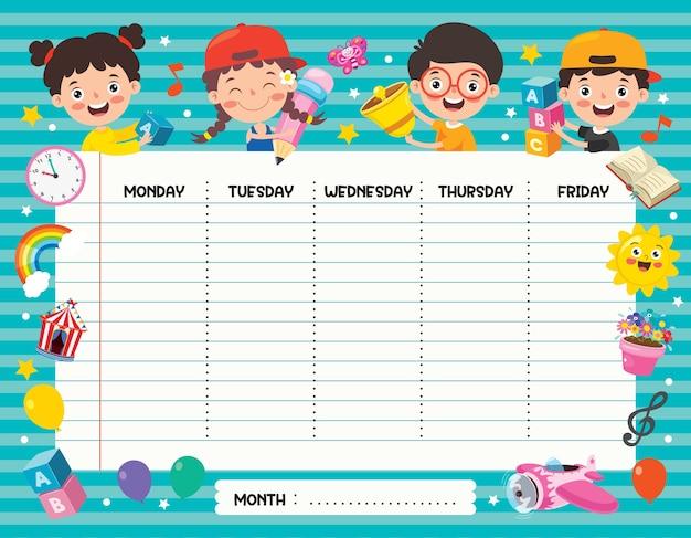 Planificateur quotidien et hebdomadaire pour les enfants