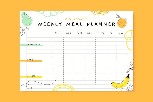 Planificateur de repas coloré doodle
