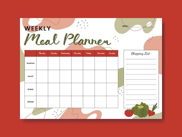 Planificateur de repas hebdomadaire à thème veggies