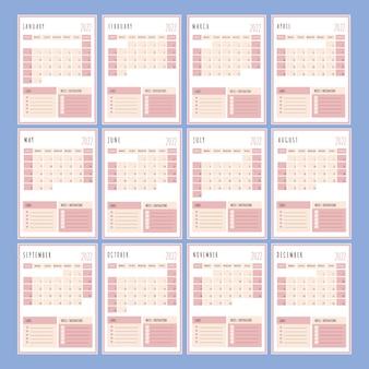 Planificateur rose année 2022 modèle imprimable organisateur d'entreprise page de calendrier