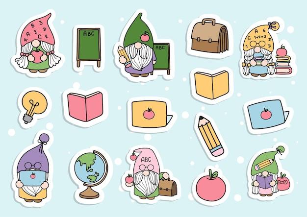 Planificateur et scrapbook d'autocollants gnome pour la rentrée scolaire