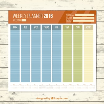 Planificateur weekley 2016 couleurs