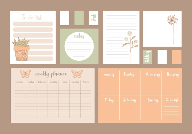 Planificateurs avec illustration mensuelle et hebdomadaire