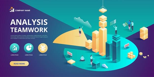 Planification d'analyse d'entreprise isométrique gestion de projet