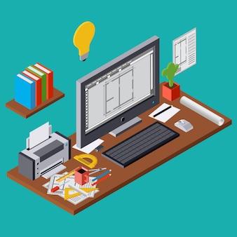 Planification de l'architecture, projet, lieu de travail d'architecte, conception d'ordinateur intérieur plat 3d illustration isométrique. concept graphique web moderne