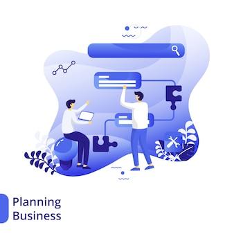 Planification business flat illustration, le concept des hommes discute devant des puzzles