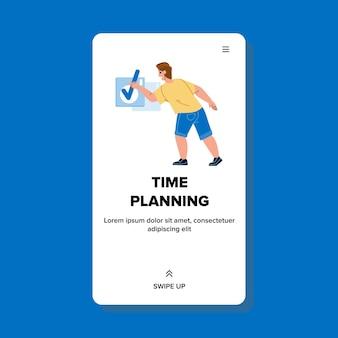 Planification du temps de l'homme et vérification dans le vecteur de l'ordinateur portable. planification et organisation du temps de l'homme d'affaires, productivité et loisirs de travail. calendrier de gestion des personnages illustration de dessin animé plat web