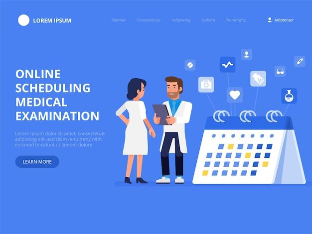 Planification d'examen médical en ligne. page de destination du calendrier de l'hôpital