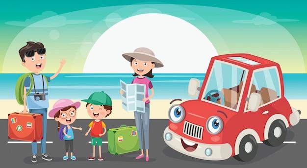 Planification familiale pour aller en vacances avec funny car