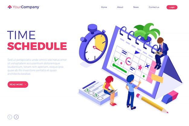 Planification de la gestion du temps du calendrier. modèle de page de destination