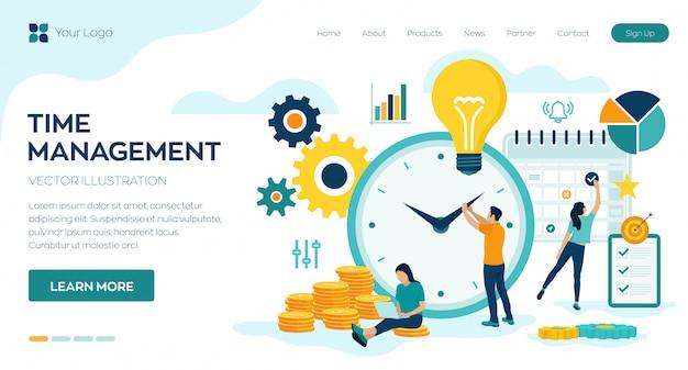 Planification de la gestion du temps, organisation et contrôle de la page d'arrivée