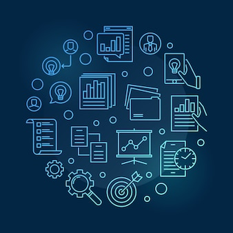 Planification de la gestion de projet icône illustration ligne mince bleue