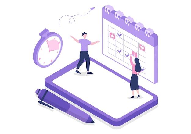 Planification de l'horaire ou de la gestion du temps avec calendrier réunion d'affaires, activités et événements processus d'organisation travail de bureau. illustration vectorielle de fond